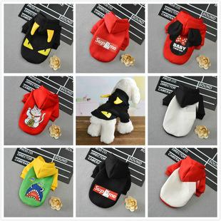 Custom fashion brand pet dog clothes Teddy Bichon plus fleece sweater hooded cat clothes autumn and winter fleece
