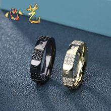 XY.apm925镶钻闪亮金黄色戒指简约复古风格情侣食指指环男女对戒