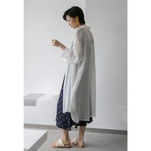 2019韓國chic夏季新款簡約純色百搭寬松加長款防曬雪紡襯衫女C165