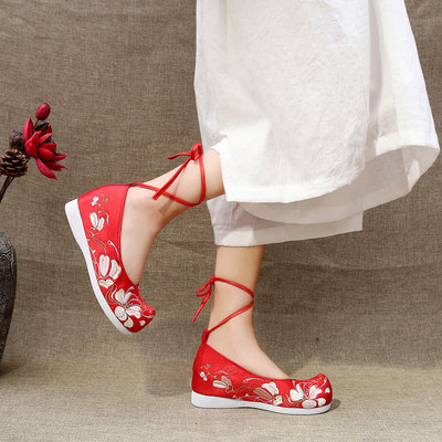 Chinese hanfu shoes retro inner heightening embroidered shoes ancient chinese shoes china wedding shoes for women