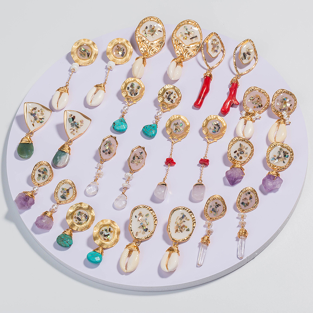 fashion style new geometric color shell natural freshwater pearl earrings NHAN355545