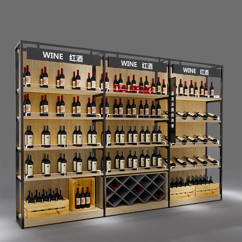 红酒货架单面靠墙钢木货架商行精品卖场红酒展示架