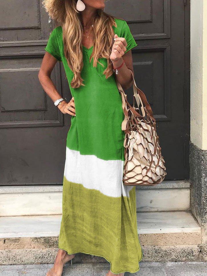 color matching dress multicolor color stripe patchwork long dress NSYF1153
