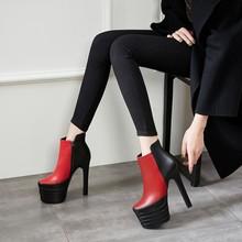 春季時尚新款圓頭防水臺細高跟鞋面拼色簡約歐美女士時裝短靴