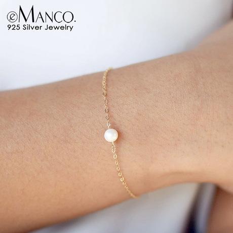 Trang sức thời trang ngoại thương châu Âu và Mỹ Đơn giản quà tặng bạn gái hoang dã Chuỗi ngọc trai đơn tinh tế vòng tay bạc 925
