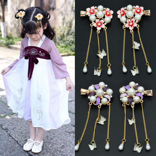 Chinese Hanfu Hair accessories Han costume headdress children hairpin girl ancient hair ornament super immortal ancient tassel Buyang Princess ancient hairpin clip