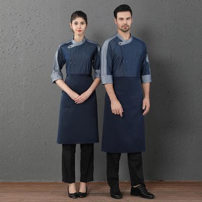 厨师服长袖秋冬装男女焙糕点食堂学校西点师工作服工