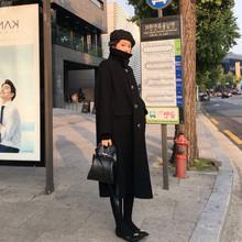 黑色赫呢子大衣女2019秋冬新款韓版加厚中長款過膝顯瘦毛呢外套潮