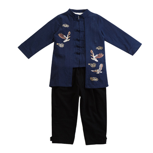 Boy chineses Hanfu suit kids chinese ancient folk ethnic style tang suit cotton and linen chinese kung fu wu shu stage performance clothes for boy