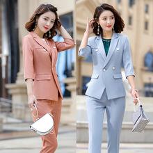 中袖西服套裝女新款時尚修身工作服春夏正裝職業裝西裝套裙三件套