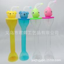 透明飲料杯PET啞鈴卡通動物杯造型果汁杯600ml