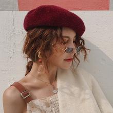 網紅款秋冬季毛絨馬海毛貝雷帽韓版時尚單色畫家帽街頭女士蓓蕾帽