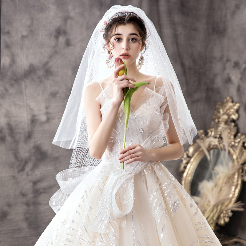 奢华主婚纱2020新款新娘吊带抹胸女小个子森系赫本星空抖音长拖尾