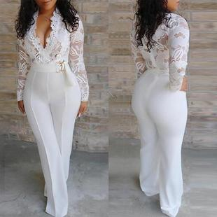 2019 new product AliExpress solid color lace wide-leg pants one-piece