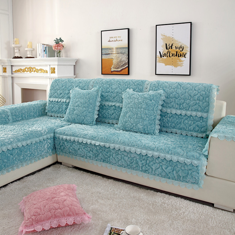 Thick Slip Resistant Couch Cover for Corner Sofa Made with Plush Fabric Including Lace for Living Room Decor 24