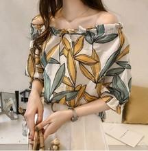 夏裝2020新款韓版氣質印花雪紡衫女寬松顯瘦性感一字領露肩上衣潮
