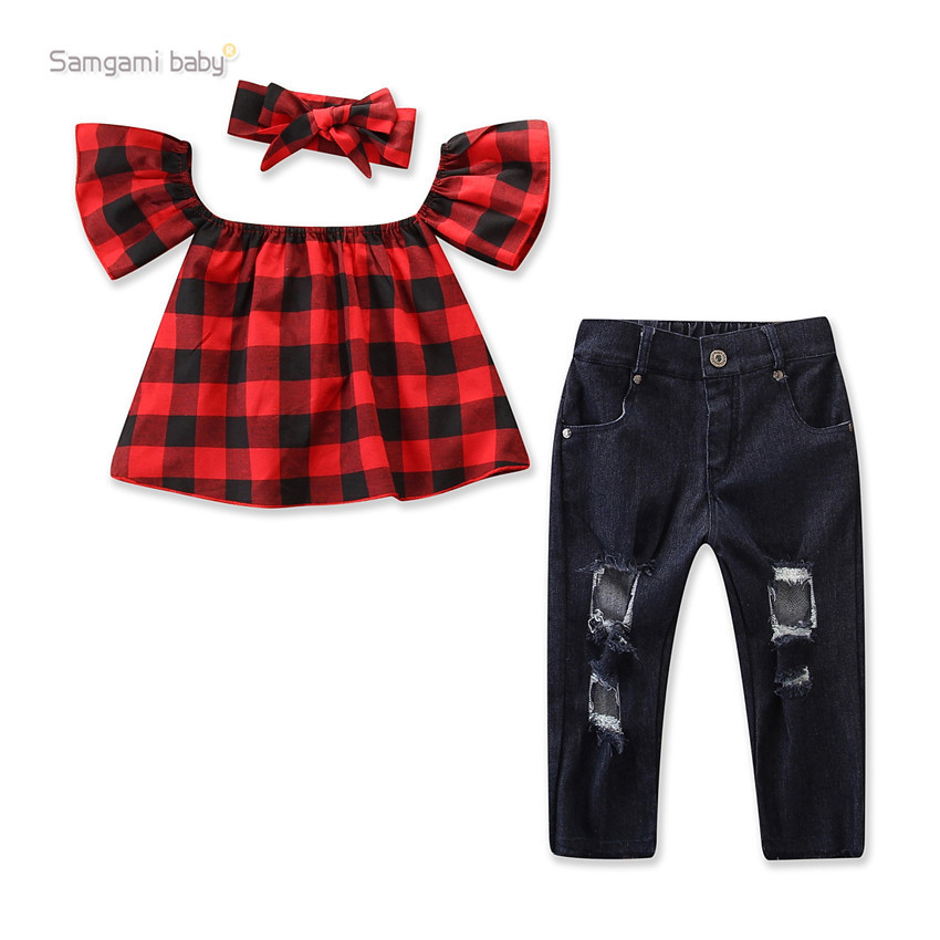 Samgami baby summer ins fashionable girls' suit Plaid Off Shoulder Top + ripped jeans headdress