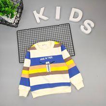 童装冬季长袖加绒t恤2019新款儿童条纹卫衣?#26149;?#32466;男孩保暖中童T恤