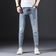 夏季男牛仔裤修身弹力牛仔裤男士小脚牛仔裤男潮品牌男装一件代发