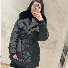 实拍19冬季新品女装时尚潮款英伦短款风衣款加厚黑色大毛领羽绒服