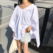 2019夏季韓版寬松斗篷側開叉短袖T恤休閑中長款白色V領上衣女596