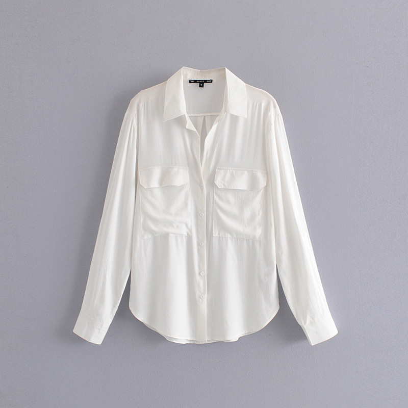Express Express eBay European and American style new loose pocket Pullover Chiffon Lapel Long Sleeve Blouse Top Women wholesale