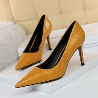 272-6 European and American fashion simple high heel sexy show thin professional ol all-around women's shoes shallow mouth pointed snake pattern single shoes