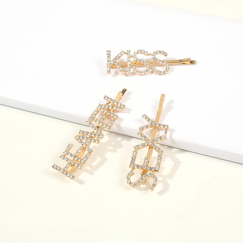 Simple New Hair Accessories Fashion Girl Hairpin Letter Diamond Diamond Word Clip Set NHMD190334