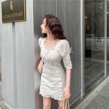 爆款实拍2019高品质高端洋气白色修身显瘦时尚韩版小个子连衣裙