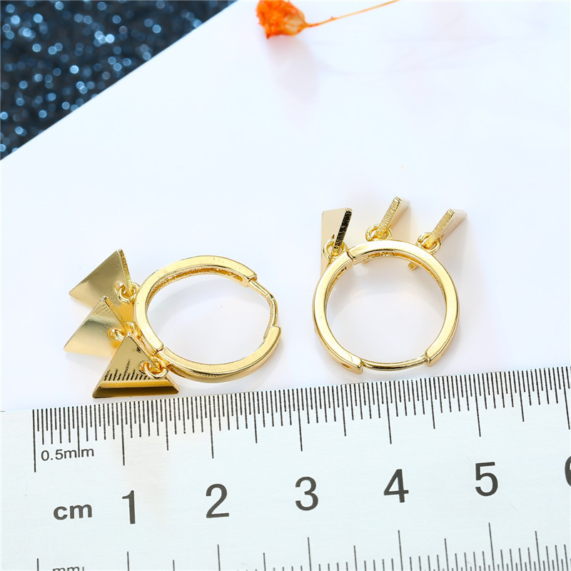 fashion simple new  punk personality multiple triangle pendant small earrings simple multi-layer geometric hoop earrings nihaojewelry wholesale NHGO220987