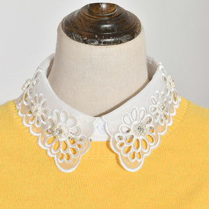 Fake collar Detachable Blouse Dickey Collar False Collar Hollowed out flower and diamond shirt collar decoration fake collar children shirt bud versatile fake collar seasonal collar
