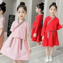 女童复古唐装汉服连衣裙中大童中国风表演服礼服长袖短袖系带古装
