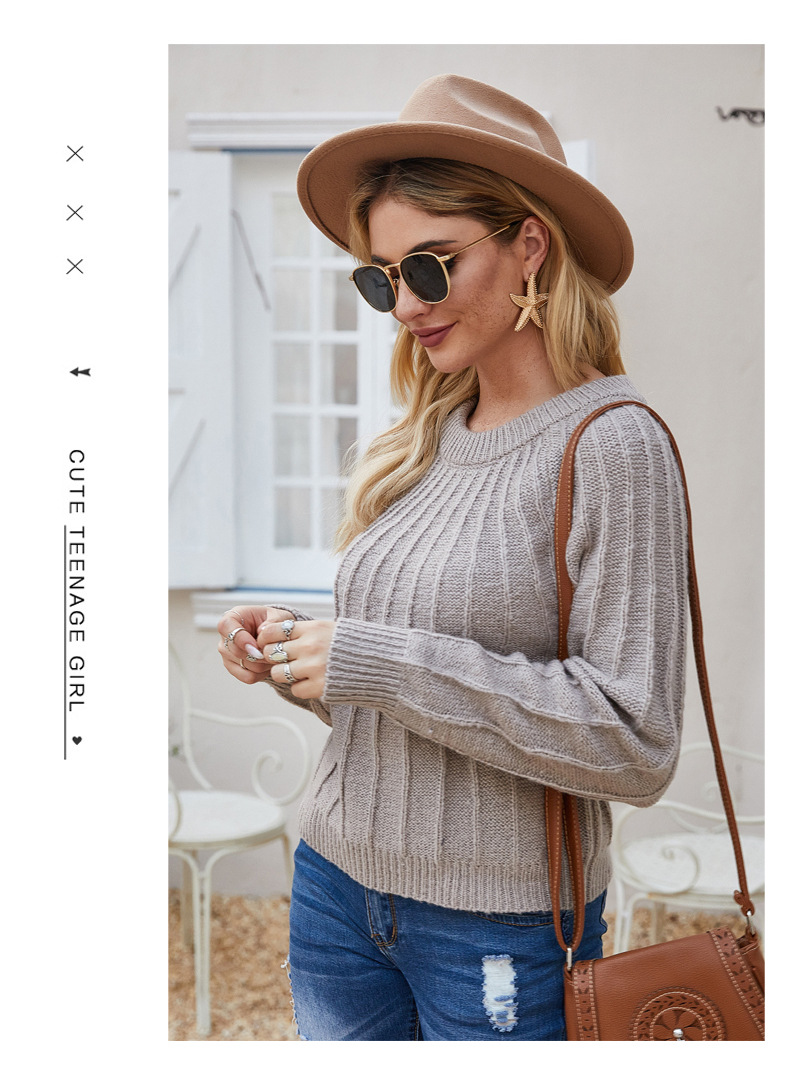 new women's pullover loose hot style solid color women's knitted sweater NSYH7165