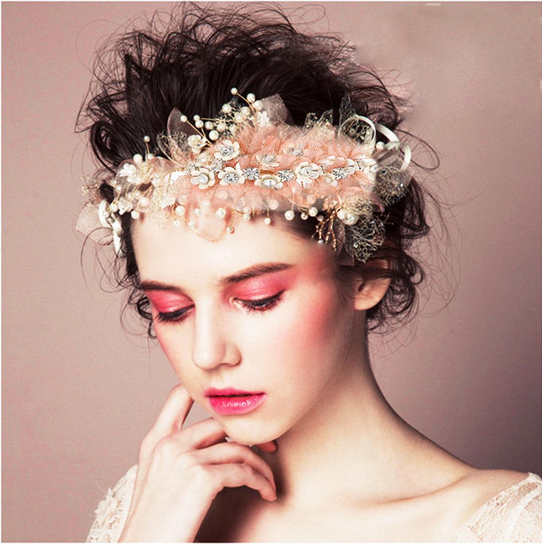欧美新款女士时尚珍珠水钻金属真丝花头新娘伴娘婚礼饰品