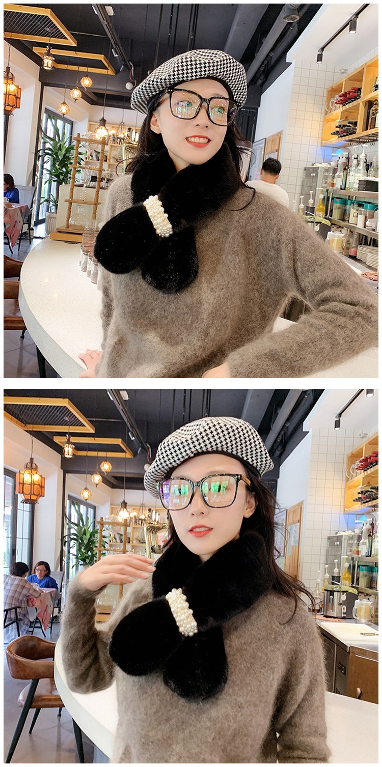Pearl plush solid color scarf female autumn and winter Korean version of the thick long fashion wild male soft sister student collar NHMN180016