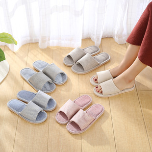 New spring and autumn floor slippers striped linen soft bottom home slippers casual non-slip fabric slippers factory wholesale