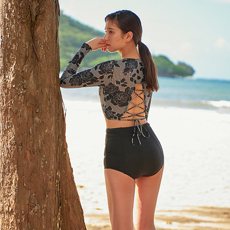 New split triangle long sleeve fashion high waist conservative two-piece ladies swimwear NHHL200060