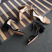 2019新款SW一字帶露趾涼鞋 6.5CM高跟真皮女鞋 小辣椒同款 高端貨