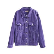 2019秋季新款女裝歐美風翻領單排扣長袖紫色寬松牛仔外套一件代發