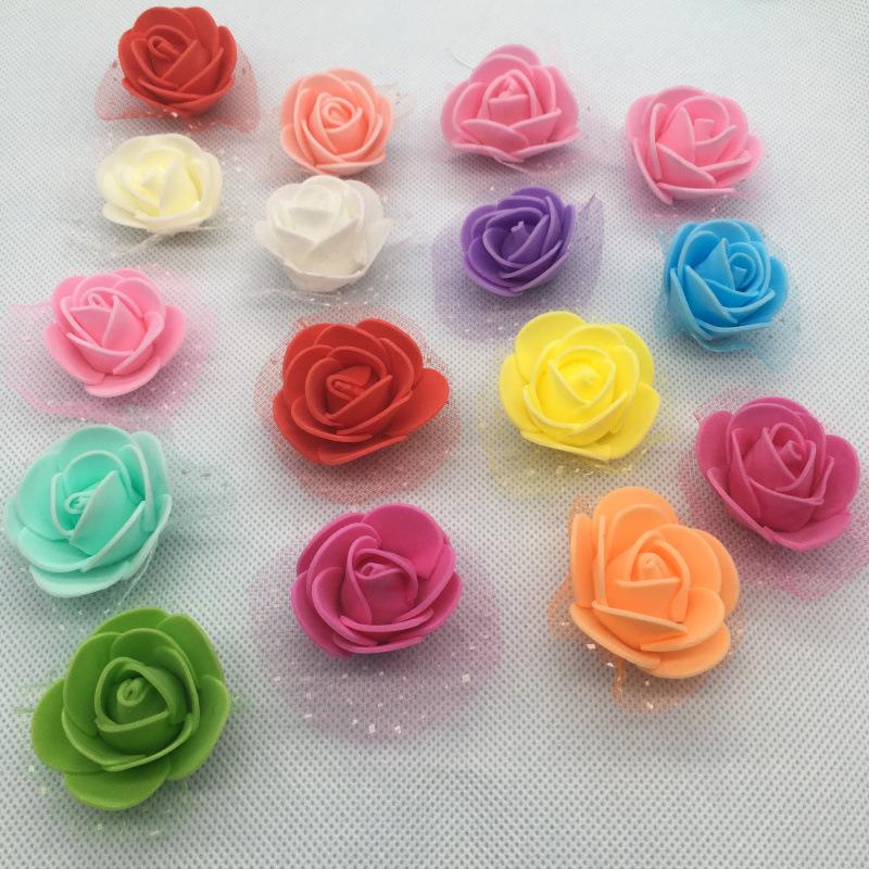 仿真泡沫PE玫瑰带纱小花头婚庆装饰花环制品DIY手工制作小花