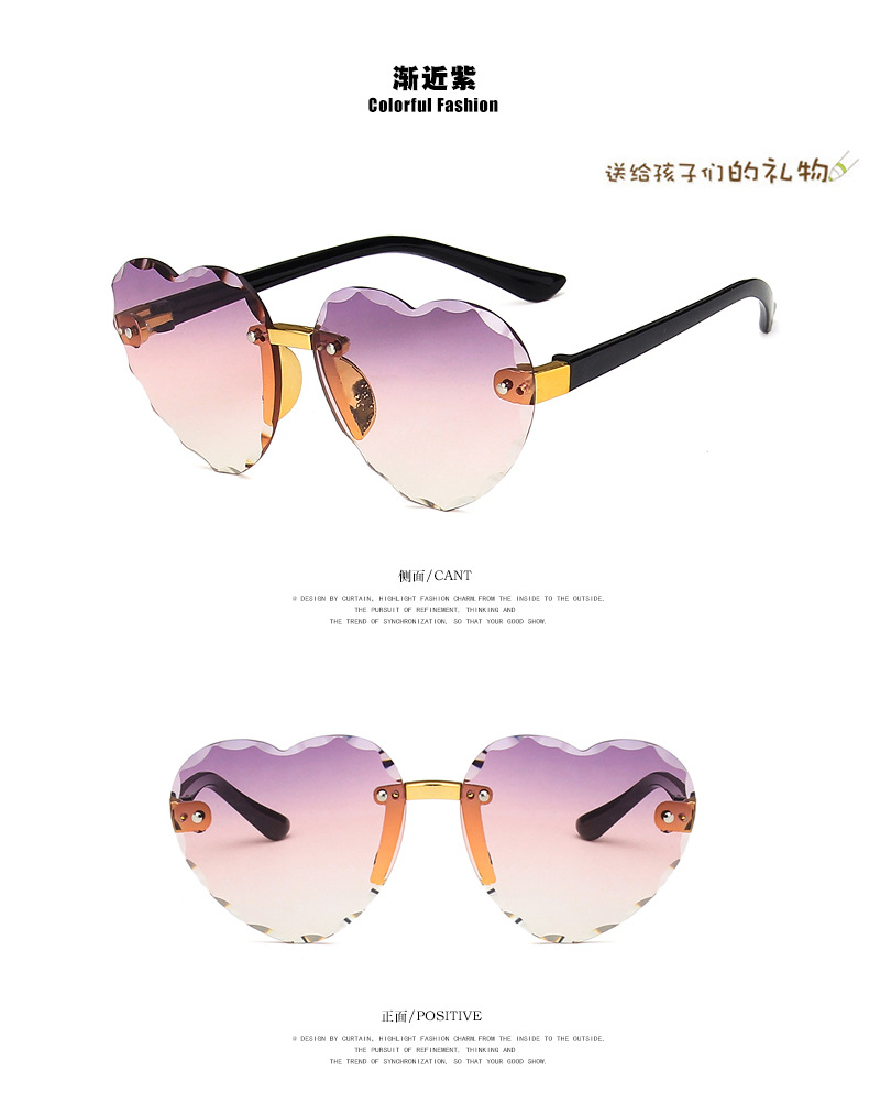 Frameless Trimming Love Sunglasses New Boys and Girls Ocean Sunglasses Fashion Colorful Sunglasses NHKD200476