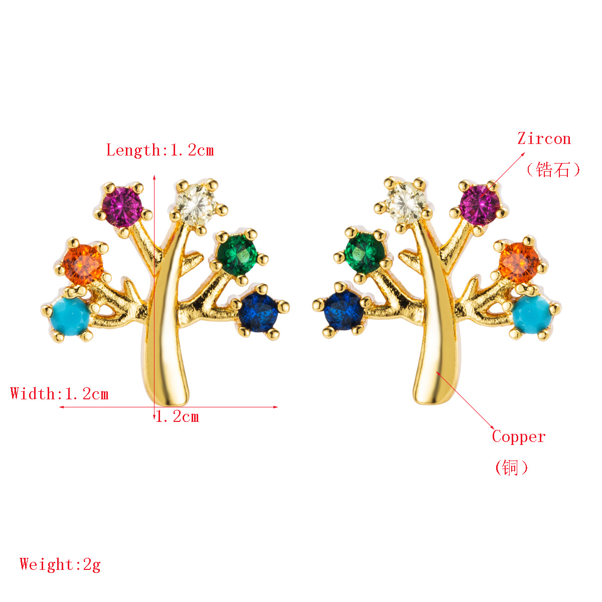 European and American copper plated gold micro-set color zircon earrings NHLN155956