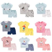 兒童短袖套裝男女寶寶純棉休閑夏裝0-5歲嬰兒夏天衣服批發代發