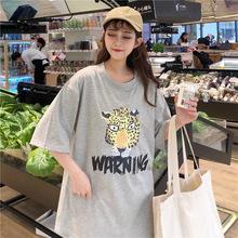 批发实拍现货6535棉Fly韩版老虎头印花短袖t恤女中长款打底衫