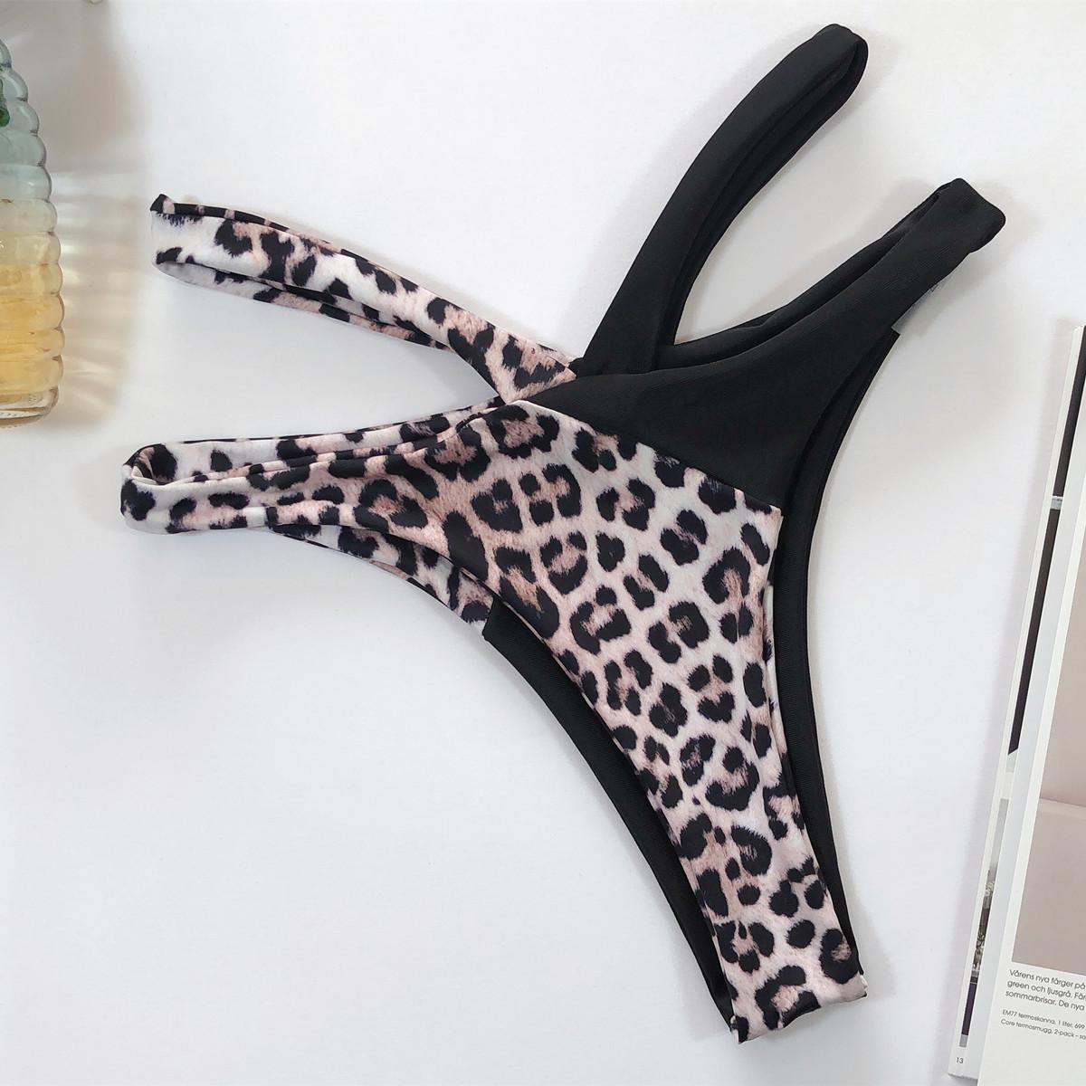hot style bikini high waist leopard print stitching bikini ladies swimsuit split  NSDA2191