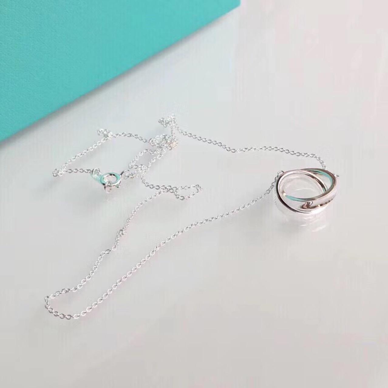 t家1837双环双圈项链925纯银女锁骨项链一件代发