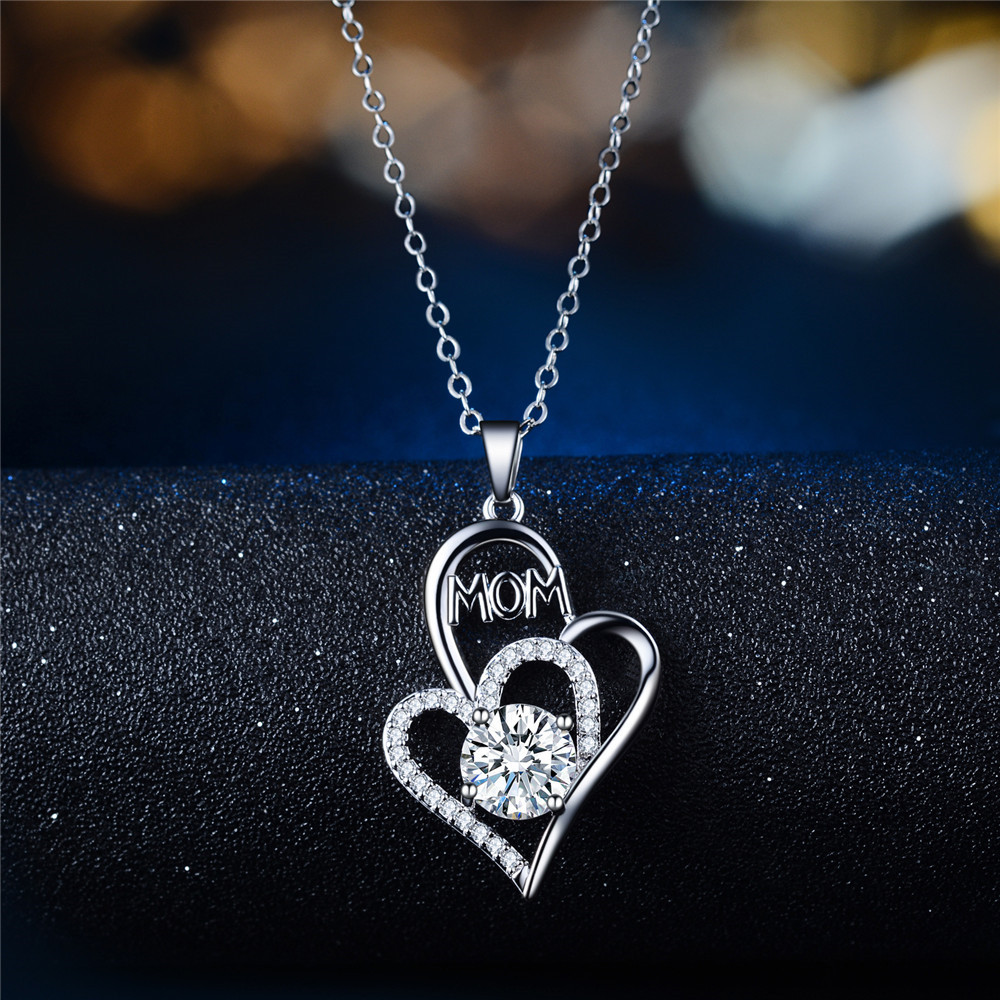 Mother39s Day necklace wholesale new fashion mom color separation heartshaped diamond necklace yiwu wholesale NHKN208024