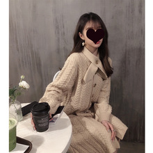 韓版女裝寬松麻花毛衣連衣裙過膝中長款慵懶風法式復古長裙針織裙