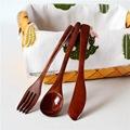 日式和风便携套装勺子叉子木刀三件套礼品木制餐具批发