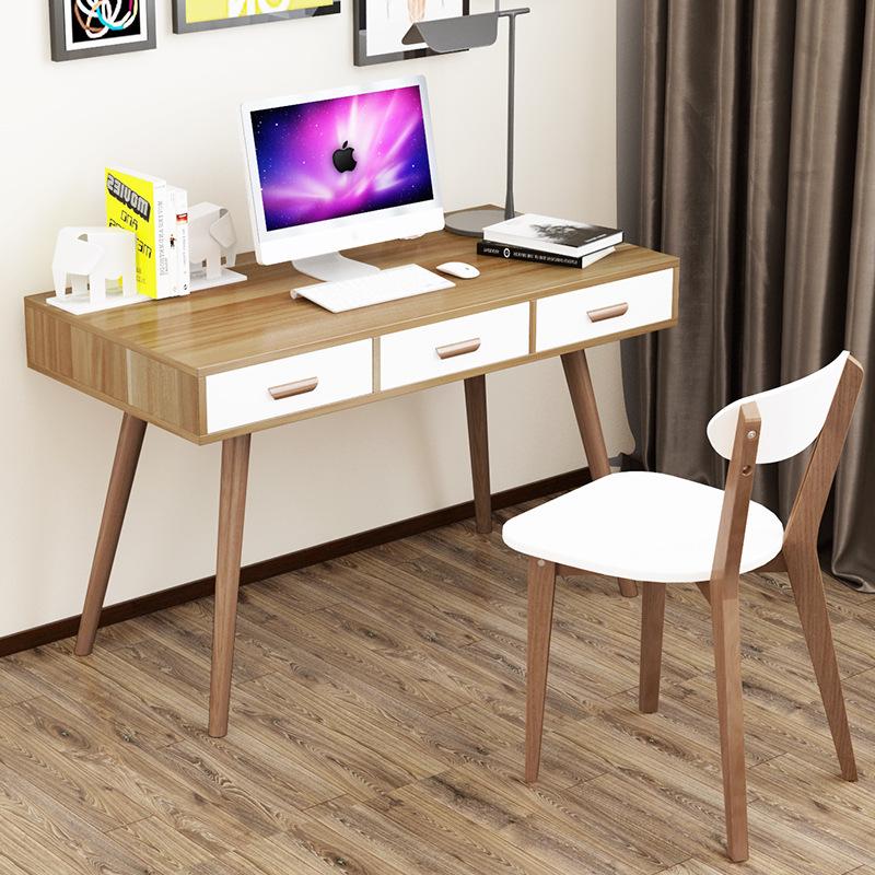 实木书桌家用简约台式电脑桌北欧书桌写字台办公桌卧室儿童学习桌
